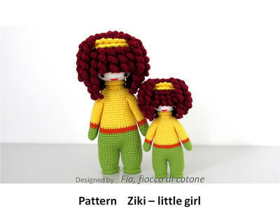 Pattern Ziki - little girl , doll amigurumi crochet, curly-haired doll