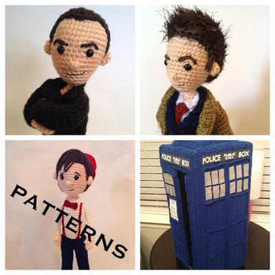 PATTERNS Set of 4 Modern Doctors Who Time Travel Crochet Amigurumi 3 Doctor Set plus Police Box