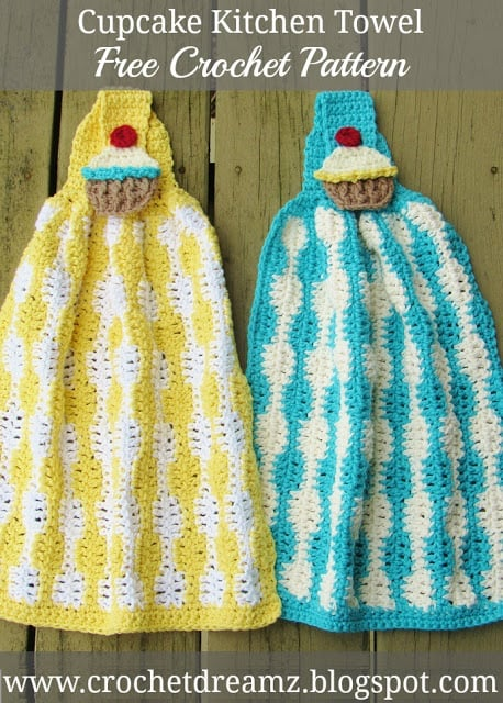Cup Cake Kitchen Towel Crochet Pattern