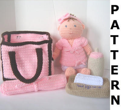 Baby Doll with Diaper Bag Crochet Pattern