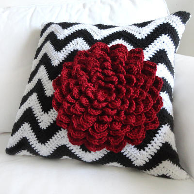 Chevron Flower Pillow Cover