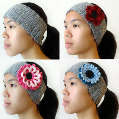 Ear Warmer with Interchangeable Flowers