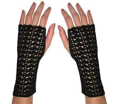 Striping Shells Fingerless Gloves