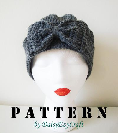 Crochet Hat - Pumpkin with Big bow - Instant download