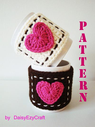 Mug Cozy with Heart - Instant download