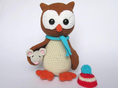 Owl Helga with Mouse - Amigurumi Crochet Pattern / PDF e-Book / Stuffed Animal Tutorial