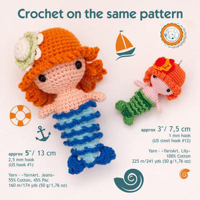 Mermaid - crochet doll pattern, amigurumi doll pattern