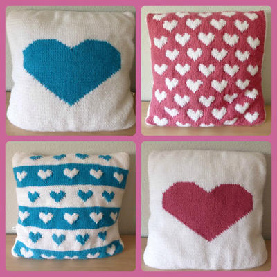 Heart Cushions Knitting Patterns