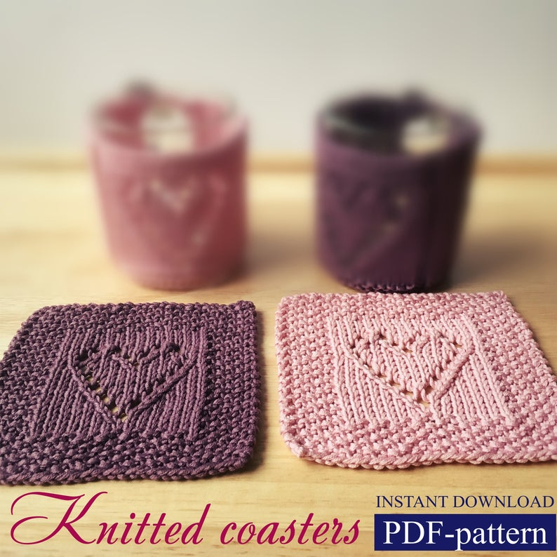 How to Knit coaster AnaValenArt Valentine's day