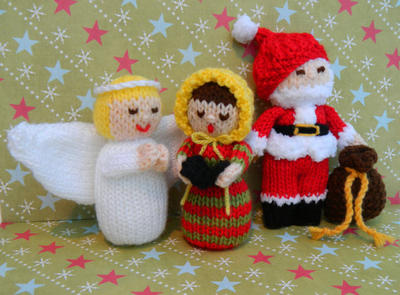 Christmas Doll Knitting Pattern/ Angel, Father Christmas & Carol Singer Dolls