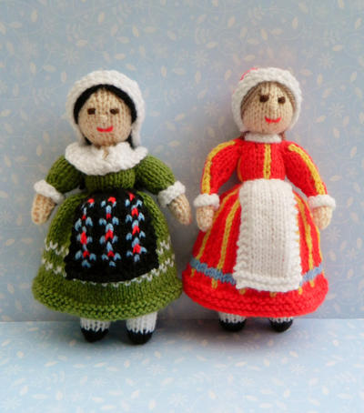 Doll Knitting Pattern / Adeline & Bettina - Folk Dolls