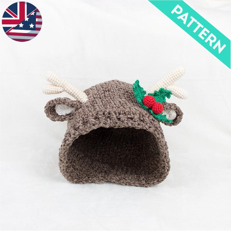 Reindeer hat for christmas crochet pattern