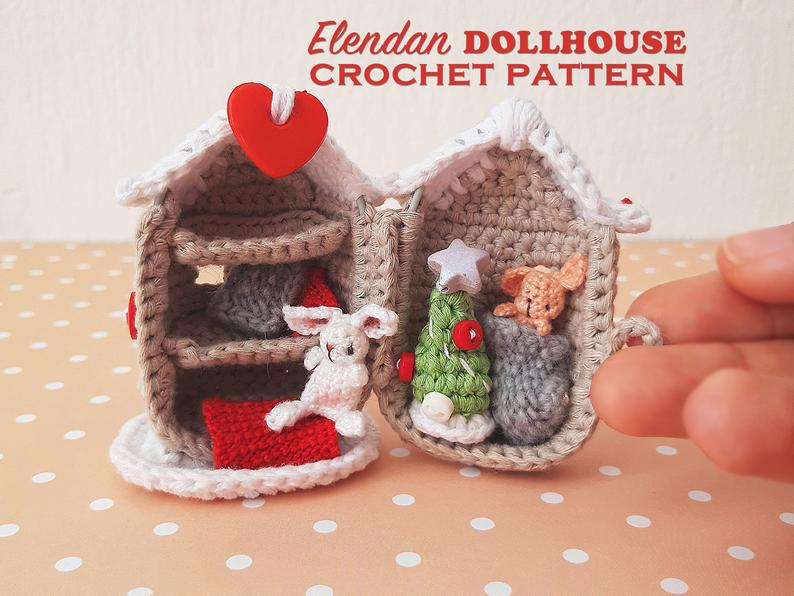 Christmas dollhouse crochet pattern with bunny