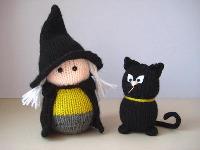Wanda the Witch and black cat toy knitting pattern