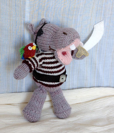 Pirate Hippo Knitting Pattern