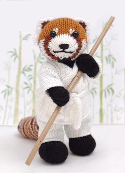 Red Panda with Karate Gi Knitting Pattern