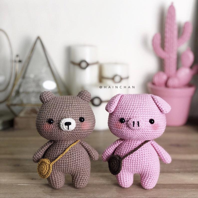 Pinky The Little Pig And Brownie The Little Bear – Crochet PDF pattern