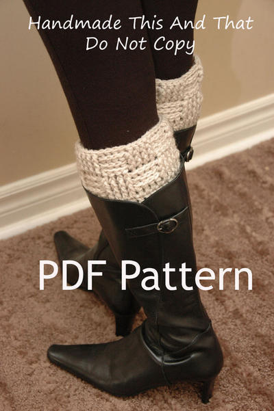 Crochet Boot Cuff PATTERN - Basketweave Boot Cuffs, leg warmers