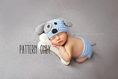 Newborn Puppy hat and diaper cover and bone set