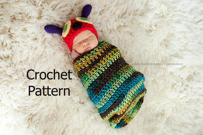 Very Hungry Caterpillar Hat and Cocoon Newborn Baby Photo Prop Set