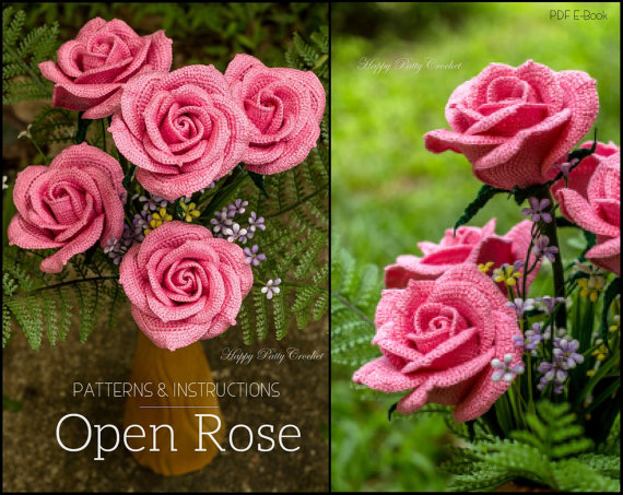 Crochet Pink Rose Pattern