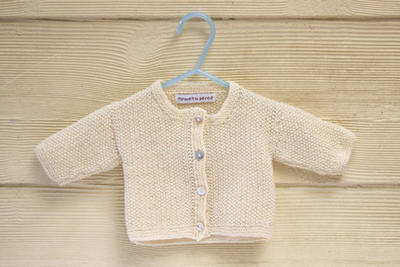 Baby Cardigan with Button Closure, Essential Classic Moss Stitch In 4 Sizes