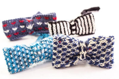 Boys Knit Bow Ties Patterns, Set of 4 Designs