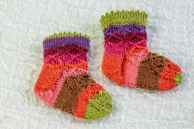 Knitted Baby Girl Socks with Picot Edge