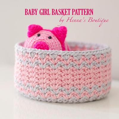 Crochet Basket Pattern - Baby Girl Basket