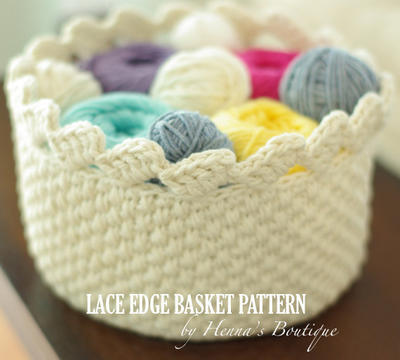 Crochet Basket Pattern - Round Lace Edge Basket