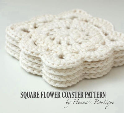 Crochet Coaster Pattern - Square Flower Coasters