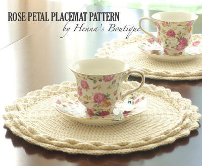 Crochet Placemat Pattern - Rose Petal