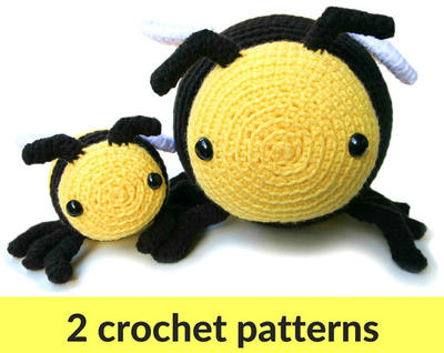 Bee amigurumi patterns - two bumble bee patterns, large and small crochet stuffed animals