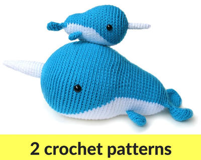 Narwhal crochet patterns - two amigurumi patterns
