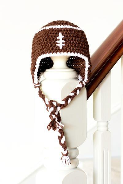 Baby Football Earflap Hat Crochet Pattern