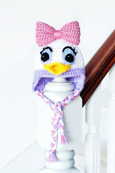 Daisy Duck Inspired Baby Hat Crochet Pattern