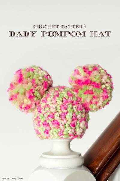 Newborn Fairy Floss Pom Pom Hat Crochet Pattern