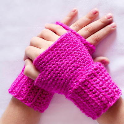 Princess In Pink ~ Basic Fingerless Gloves Crochet Pattern