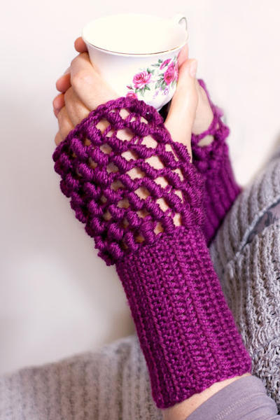 Safe & Sound ~ Bullion Stitch Fingerless Gloves Pattern