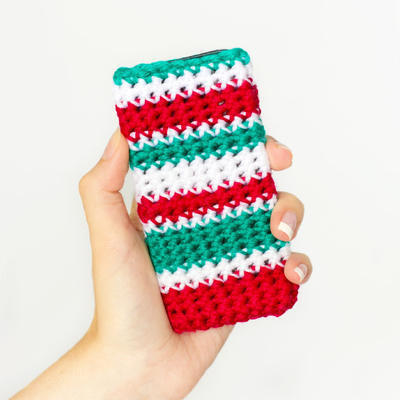 Striped Christmas Phone Case Crochet Pattern