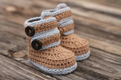 "Baby Boy Booties ""Kohl Button Boot"""