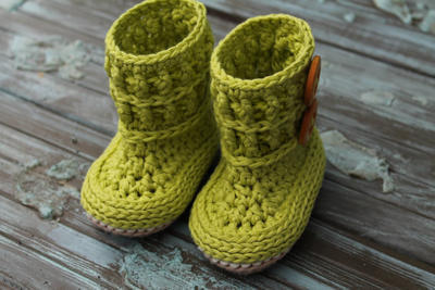 "Bootie Pattern Green Boots, ""Wellington"""