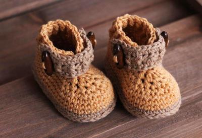"Crochet Bootie Pattern for Boys, ""Trekk Work Boot"""