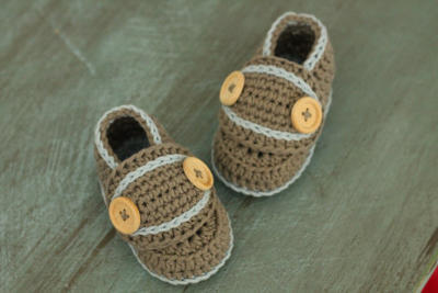 "Crochet Pattern Baby Boys Booties ""lockie loafer"""