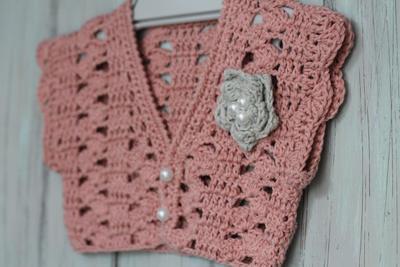 Crochet Pattern for Girls Spring Bolero, Pearl Flower