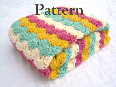 Striped Multicolor Shell Stitch Blanket