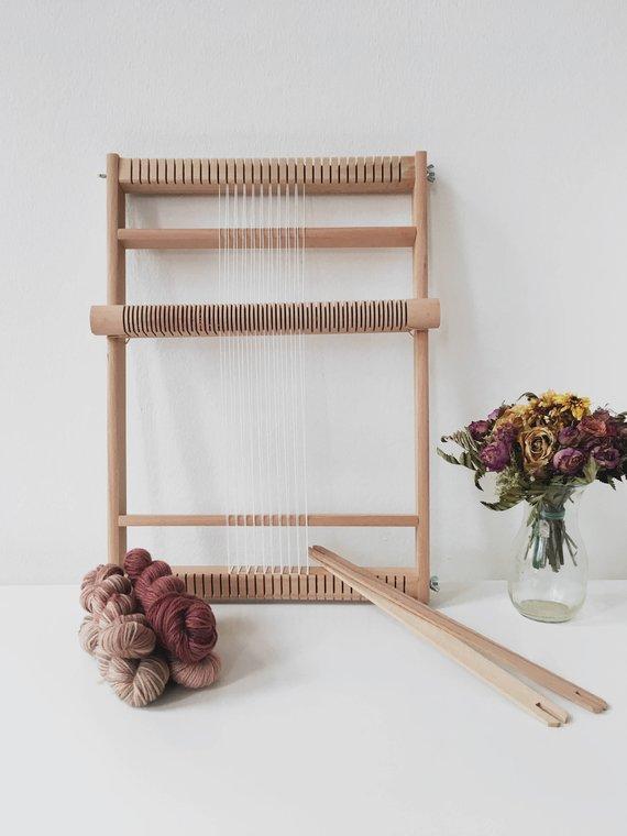 Large rolling heddle loom