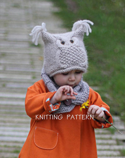 Knitting Pattern Hat Owl (Toddler, Child, Adult sizes)