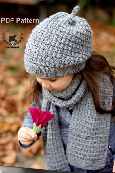 "Slouchy Hat and Scarf ""Hiver"" Knitting Pattern (Toddler, Child, Adult sizes)"