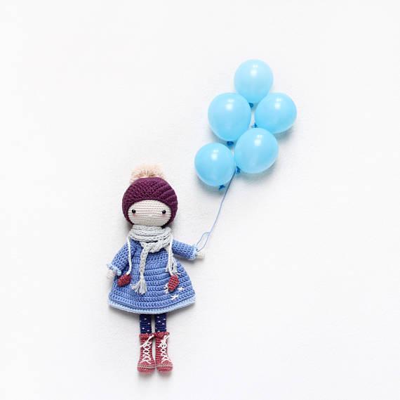 kikalite - Snowflake - amigurumi winter doll - girl on ice